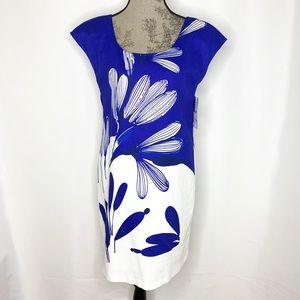 Zara cobalt print cotton pique dress - NWT Med.